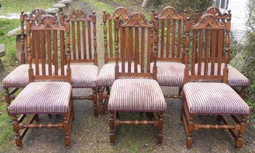 Set of Eight Oak Highback Dining Chairs by Brights of Nettlebed